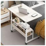 Coffee Table Height Adjustable Computer Laptop Desk, Movable PC Lift Work Table on Lockable Wheels,for Working Dining Studying (Color : White Oak)