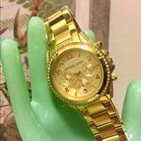 Michael Kors Accessories | Michael Kors Mk5166 Ladies Chronograph Gold Watch | Color: Gold | Size: Os
