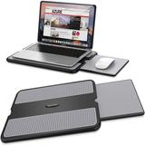 AboveTEK Portable Laptop Lap Desk w/ Retractable Left/Right Mouse Pad Tray, Non-Slip Heat Shield Tablet Notebook Computer Stand Table in Gray