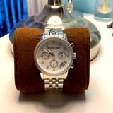 Michael Kors Accessories | Michael Kors Mother Of Pearl Chrono Date Watch | Color: Silver | Size: Os