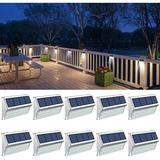 NEUXC Cool White Low Voltage Solar Powered Integrated LED Deck Light Pack Metal/Steel in Gray/White, Size 3.1 H x 5.1 W x 3.1 D in   Wayfair