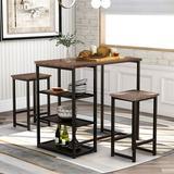 17 Stories Mclaglen 3 - Piece Counter Height Dining SetWood/Metal in Black/Brown, Size 36.2 H x 41.3 W x 36.2 D in   Wayfair
