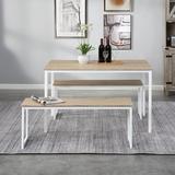 Latitude Run® Distressed Brown Three Pieces Farmhouse Kitchen Table Set Wood/Metal in White | Wayfair 1FE29A841A874614993F4BDEE5701CF6