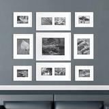 Latitude Run® 9 Piece Louvois Picture Frame Set Wood in Black/Brown/White, Size 48.0 H x 72.0 W x 1.0 D in   Wayfair