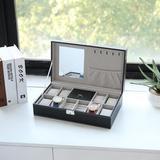 Ebern Designs 8 Slots PU Leather Watch Case Jewelry Box w/ Lock in Black, Size 3.62 H x 13.11 W x 7.6 D in   Wayfair