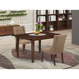 Winston Porter Agesilao Butterfly Leaf Rubber Solid Wood Dining Set Wood/Upholstered Chairs in Brown, Size 30.0 H in | Wayfair