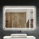 """Ivy Bronx LED-600 800 32"""" X 24"""" Bathroom Mirror, Backlit Mirror w/ Led Lights Lighted Makeup Vanity Wall-Mounted Horizontally & Vertically in Black"""