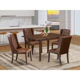 Winston Porter Aggappe Butterfly Leaf Rubber Solid Wood Dining Set Wood/Upholstered Chairs in Brown, Size 30.0 H in | Wayfair