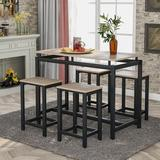 Latitude Run® 5 Piece Counter Height Dining Set w/ 4 Chairs Wood/Metal in Black/Brown/Gray, Size 35.0 H x 23.6 W x 47.2 D in | Wayfair