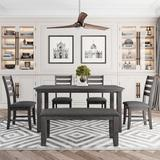 Red Barrel Studio® Dining Room Table & Chairs w/ Bench, Rustic Wood Dining Set, Set Of 6 () in Gray, Size 30.3 H x 36.0 W x 60.0 D in | Wayfair
