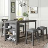 Gracie Oaks 5 Pieces Counter Height Rustic Farmhouse Dining Room Wooden Bar Table Set w/ 2 Stools & 2 Chairs in Gray | Wayfair