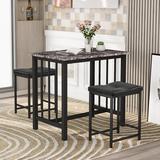 17 Stories Tascherau 3 - Piece Dining Set Wood/Metal/Upholstered Chairs in Black, Size 31.6 H x 23.6 W x 35.5 D in | Wayfair