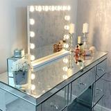 Latitude Run® Lighted Makeup Mirror, Large Vanity Mirror, Hollywood Lighted Mirror w/ 15 Pcs Dimmable Led Bulbs, Smart Touch Control/3colors Dimable