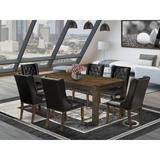 Lark Manor™ Flippen Rubber Solid Wood Dining Set Wood/Upholstered Chairs in Brown, Size 30.0 H in | Wayfair 47768631E4C74E9CA173EF7E588C7870