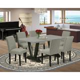 Lark Manor™ Persinger 7-Pc Dining Room Table Set - 6 Parson Chairs & 1 Modern Rectangular Linen White Wooden Dining Table w/ High Chair Back Wayfair
