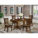 Lark Manor™ Perrotta Butterfly Leaf Rubberwood Solid Wood Dining Set Wood/Upholstered Chairs in Brown, Size 30.0 H in | Wayfair