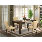 Lark Manor™ Perryman Rubber Solid Wood Dining Set Wood/Upholstered Chairs in Brown, Size 30.0 H in | Wayfair F982C6A0B0EB4A02B18670FA9B4A3102