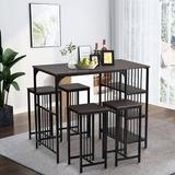 Latitude Run® Industrial 5 Piece Counter Height Dining Set w/ 3-Tier Storage Shelf For Kitchen & Dining Room, EspressoWood/Metal in Brown/Gray
