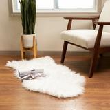 Etta Avenue™ Dominick Handmade Shag Faux Sheepskin White Area Rug Faux Fur/Sheepskin in Brown/White, Size 48.0 H x 3.0 D in | Wayfair