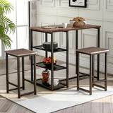 17 Stories 3 - Piece Dining Set Wood/Upholstered Chairs in Brown, Size 41.3 H x 41.3 W x 41.3 D in | Wayfair D543372A5B444308AE8FBA6F63778332