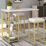 Mercer41 3 - Piece Dining Set in White/Yellow, Size 41.3 H x 41.3 W x 41.6 D in   Wayfair 7A4812EB74A1424087956EAE046979AB