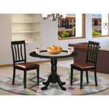 Darby Home Co Bergeron 3 - Piece Drop Leaf Rubberwood Solid Wood Dining Set Wood/Upholstered Chairs in Black, Size 29.5 H in | Wayfair