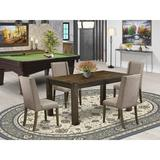 Lark Manor™ Perryman Rubber Solid Wood Dining Set Wood/Upholstered Chairs in Gray/Brown, Size 30.0 H in | Wayfair 480B32BE1566433697201590B3DB9B5E