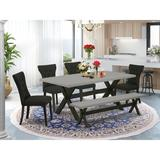 Winston Porter Ailyah 6-Pc Dining Table Set - 4 Dining Chairs in Black/Brown/Gray, Size 30.0 H x 60.0 W x 36.0 D in | Wayfair