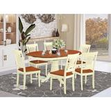 Lark Manor™ Feltner 7 - Piece Butterfly Leaf Rubberwood Solid Wood Dining Set Wood in White, Size 30.0 H in | Wayfair