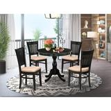 Charlton Home® Hibben 3-Pc Modern Dining Table Set- 2 Dining Chair & Dining Table - Linen Fabric Seat & Slatted Chair Back - Linen White Finish