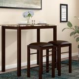 Winston Porter Penelope 3 Piece Dining Set Wood/Upholstered Chairs in Brown, Size 36.0 H in | Wayfair 56830BF4BD8D484FB7AE868AFC3BE283