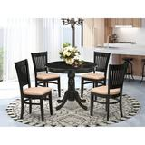 Alcott Hill® Deville 3-Pc Dining Room Table Set- 2 Wooden Chairs & Round Dining Table - Linen Fabric Seat & Slatted Chair Back - Linen White Finish
