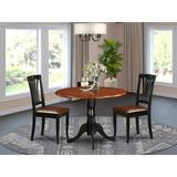Alcott Hill® Villani Drop Leaf Rubberwood Solid Wood Dining Set Wood/Upholstered Chairs in Black/Brown, Size 29.5 H in | Wayfair