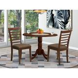 Alcott Hill® Villani Drop Leaf Rubberwood Solid Wood Dining Set Wood/Upholstered Chairs in Brown/Red, Size 29.5 H in   Wayfair