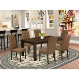 Lark Manor™ Flippen Rubber Solid Wood Dining Set Wood/Upholstered Chairs in Gray/Brown, Size 30.0 H in | Wayfair 5BB7B843188849F08DC5BCD02D8D3DE7