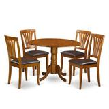 Alcott Hill® Villani Drop Leaf Rubberwood Solid Wood Dining Set Wood/Upholstered Chairs in Brown, Size 29.5 H in | Wayfair