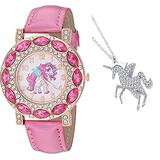 Women's Unicorn Lucky Gift Set Watch Gold-Tone Bling Bling Case Luminous Watch Hands & Unicorn Bling Pendant Chain.
