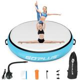 """Costway 40"""" Inflatable Round Gymnastic Mat Tumbling Floor Mat with Electric Pump-Blue"""