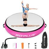 """Costway 40"""" Inflatable Round Gymnastic Mat Tumbling Floor Mat with Electric Pump-Pink"""