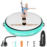 """Costway 40"""" Inflatable Round Gymnastic Mat Tumbling Floor Mat with Electric Pump-Green"""
