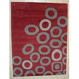 EORC ME40080RD9X12 Hand-Tufted Wool Modern Tufted Rug, 9' x 12', RED