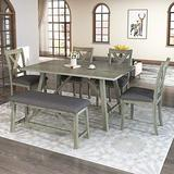 kupet 6-Piece Dining Table Set Rustic Style Wood Kitchen Furniture with 4 Padded Chairs and 1 Bench for Home & Restaurant, Gray