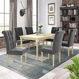 COODENKEY 7 Piece Wood Dining Table Set with 6 High Back Upholstered Chairs, Home Kitchen Restaurant Furniture(Natural +Gray)