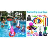 JOINBO 32 Pcs Dive Pool Toys & Pool Ring Toss Games Toys for Kids Adult Family,Multiplayer Summer Pool Games Toys & Water Fun Outdoor Play