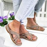 Women's Sandals Summer Platform Wedged Sandals PU Leather Flat Casual Open Toe Walking Shoes Vintage Comfort Outdoor Beach Holiday Sandals,Taupe,40