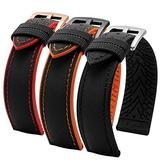 DFKai1run Silicone Strap , 20mm 22mm 24mm Nylon Silicone Bottom Watch Strap Men Breathable Rubber Wrist Band Bracelet Accessories Multicolor Selection (Band Color : A Black red, Band Width : 20mm)