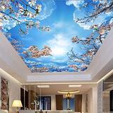 Custom Mural Wallpaper 3D Blue Sky White Clouds Cherry Blossom Ceiling Zenith Mural Living Room Dining Room Self-Adhesive Fresco,300(W)210(H)cm