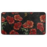 Beautiful Red Poppies Flowers Kitchen Rugs Mats Non Skid Washable Throw Rugs for Kitchen Floor Sink Rectangular Soft Standing Carpets Entryway Rugs Doormat Runner for Home Decor 39 X 20in
