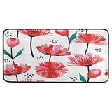 Trendy Red Flowers Kitchen Rugs Mats Non Skid Washable Throw Rugs for Kitchen Floor Sink Rectangular Soft Standing Carpets Entryway Rugs Doormat Runner for Home Decor 39 X 20in