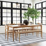 Buffalo Plaid Rug 6' x 9' Buffalo Check Rug Cotton Grey and White Washable Retro Lattice Checkered Indoor Outdoor Rug Carpet for Farmhouse Living Room/Dining Room/Bedroom